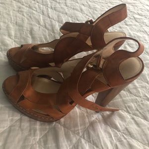 Leather Coach High Heeled Sandals